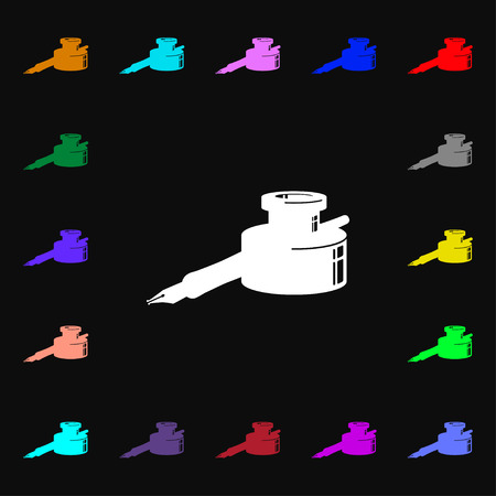 signing papers: pen and ink icon sign. Lots of colorful symbols for your design. illustration Stock Photo