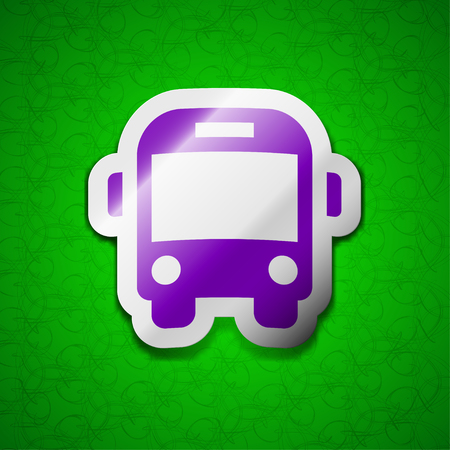 schoolbus: Bus icon sign. Symbol chic colored sticky label on green background. illustration