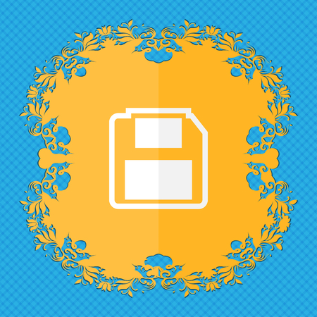 floppy drive: floppy disk. Floral flat design on a blue abstract background with place for your text. illustration Stock Photo