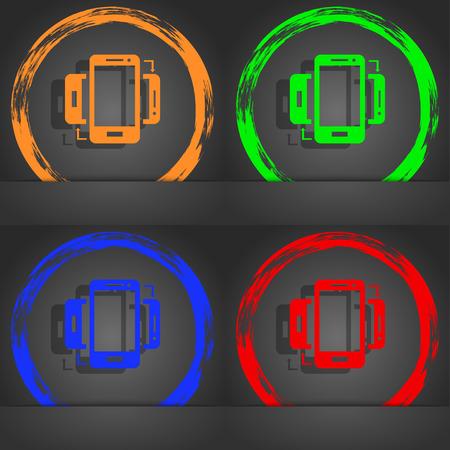 data synchronization: Synchronization sign icon. smartphones sync symbol. Data exchange. Fashionable modern style. In the orange, green, blue, red design. illustration Stock Photo