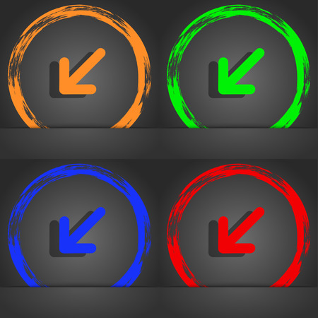 resize: turn to full screen icon symbol. Fashionable modern style. In the orange, green, blue, green design. illustration