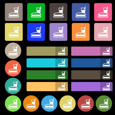 lunch box: lunch box icon sign. Set from twenty seven multicolored flat buttons. illustration Stock Photo