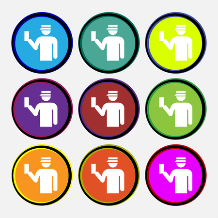 inspector: Inspector icon sign. Nine multi colored round buttons. illustration