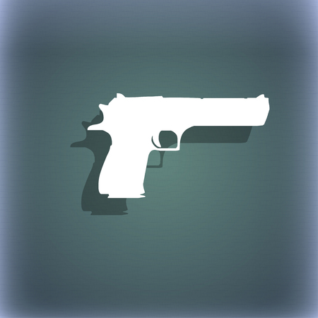 gas mask danger sign: gun icon symbol on the blue-green abstract background with shadow and space for your text. illustration