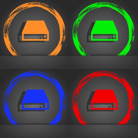 cdrom: CD-ROM icon symbol. Fashionable modern style. In the orange, green, blue, green design. illustration