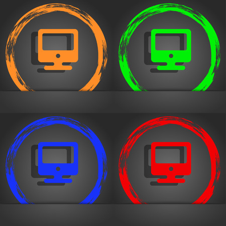 incrustation: monitor icon symbol. Fashionable modern style. In the orange, green, blue, green design. illustration
