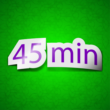 45: 45 icon sign. Symbol chic colored sticky label on green background. illustration
