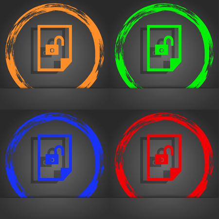 lockout: File unlocked icon sign. Fashionable modern style. In the orange, green, blue, red design. illustration