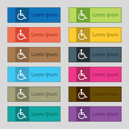 paralyze: disabled icon sign. Set of twelve rectangular, colorful, beautiful, high-quality buttons for the site. illustration