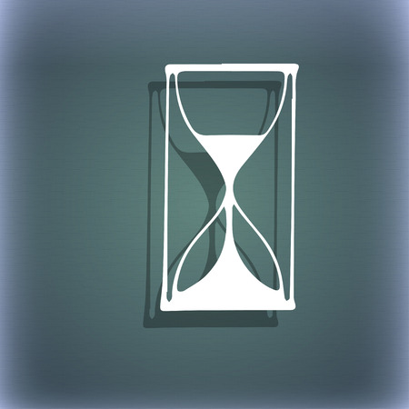 sand timer: Hourglass sign icon. Sand timer symbol. On the blue-green abstract background with shadow and space for your text. illustration