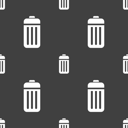 local supply: The trash icon sign. Seamless pattern on a gray background. illustration