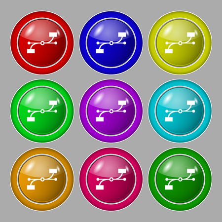 bezier: Bezier Curve icon sign. Symbol on nine round colourful buttons. illustration