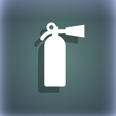 foam safe: fire extinguisher icon symbol on the blue-green abstract background with shadow and space for your text. illustration