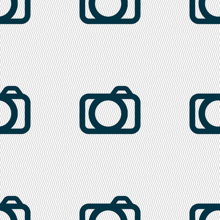 digital photo: Photo camera sign icon. Digital photo camera symbol. Seamless abstract background with geometric shapes. illustration Stock Photo
