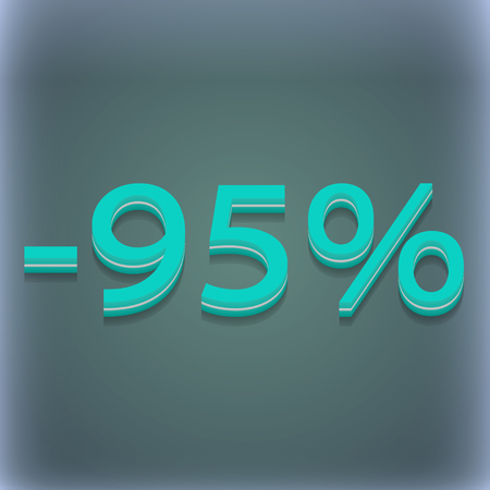 95: 95 percent discount icon symbol. 3D style. Trendy, modern design with space for your text illustration. Raster version