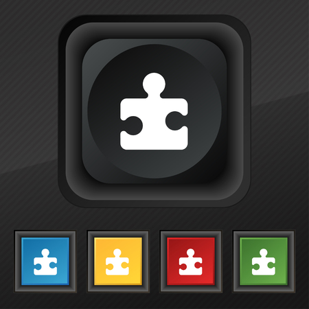 puzzle corners: Puzzle piece icon symbol. Set of five colorful, stylish buttons on black texture for your design. illustration