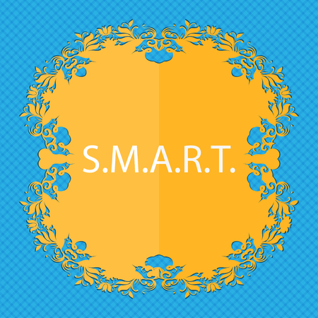 press button: Smart sign icon. Press button. Floral flat design on a blue abstract background with place for your text. illustration