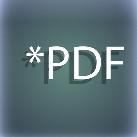 file extension: PDF file document icon. Download pdf button. PDF file extension symbol. On the blue-green abstract background with shadow and space for your text. illustration