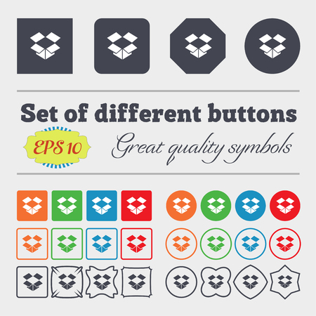 sign simplicity: open box icon sign Big set of colorful, diverse, high-quality buttons. illustration