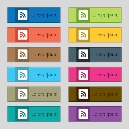 rss feed: RSS feed icon sign. Set of twelve rectangular, colorful, beautiful, high-quality buttons for the site. illustration