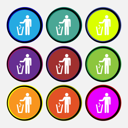throw away: throw away the trash icon sign. Nine multi colored round buttons. illustration