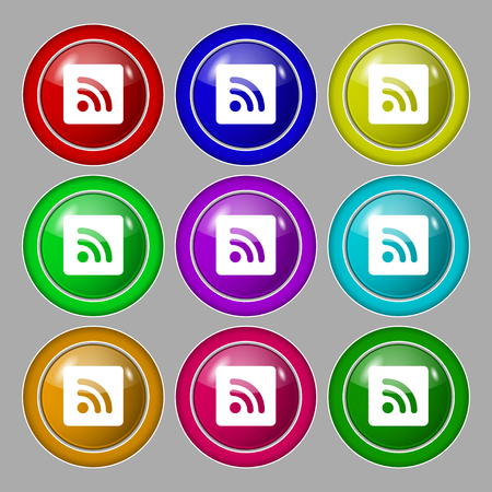rss feed: RSS feed icon sign. symbol on nine round colourful buttons. illustration Stock Photo
