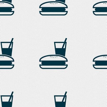 lunch box: lunch box icon sign. Seamless pattern with geometric texture. illustration