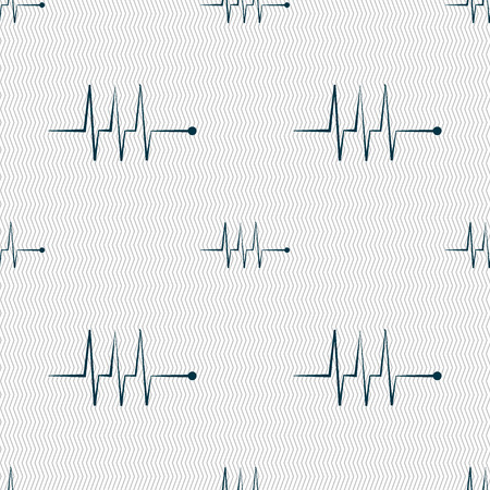 heart beats: Cardiogram monitoring sign icon. Heart beats symbol. Seamless abstract background with geometric shapes. illustration