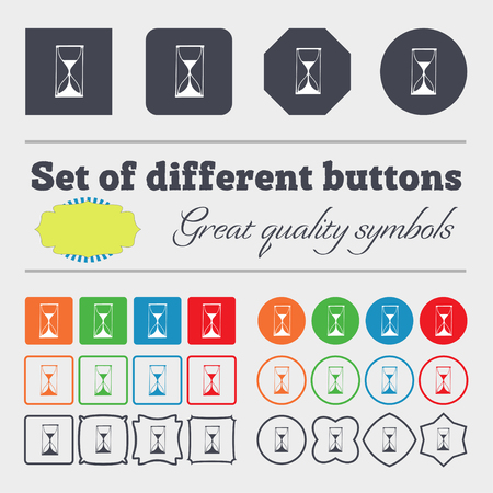 big timer: Hourglass sign icon. Sand timer symbol. Big set of colorful, diverse, high-quality buttons. illustration