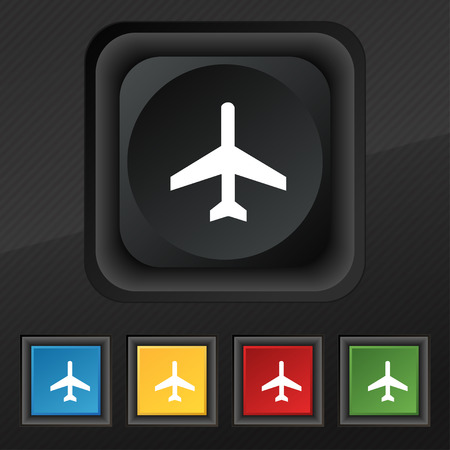 airplane icon symbol. Set of five colorful, stylish buttons on black texture for your design. illustration Stock Photo