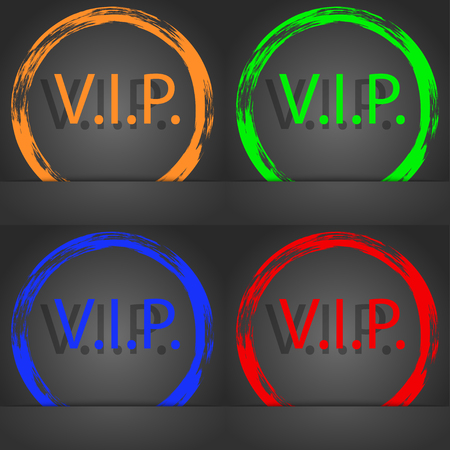 very important person: Vip sign icon. Membership symbol. Very important person. Fashionable modern style. In the orange, green, blue, red design. illustration
