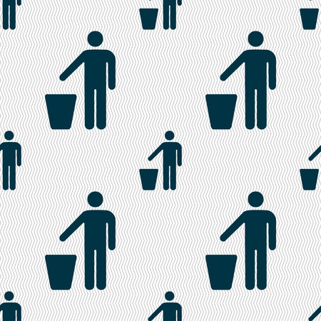 bad idea: throw away the trash icon sign. Seamless pattern with geometric texture. illustration Stock Photo
