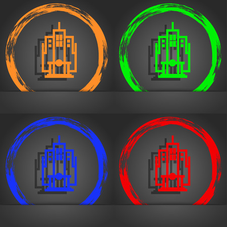 headquarter: skyscraper icon symbol. Fashionable modern style. In the orange, green, blue, green design. illustration Stock Photo