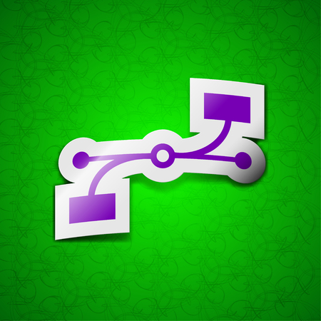bezier: Bezier Curve icon sign. Symbol chic colored sticky label on green background. illustration Stock Photo