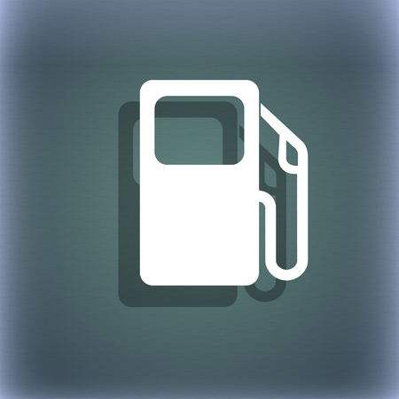 gas gauge: Auto gas station icon symbol on the blue-green abstract background with shadow and space for your text. illustration Stock Photo
