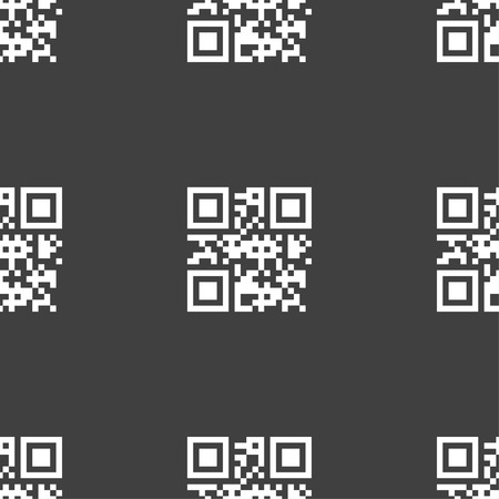 Qr code icon sign. Seamless pattern on a gray background. illustration Stock Photo