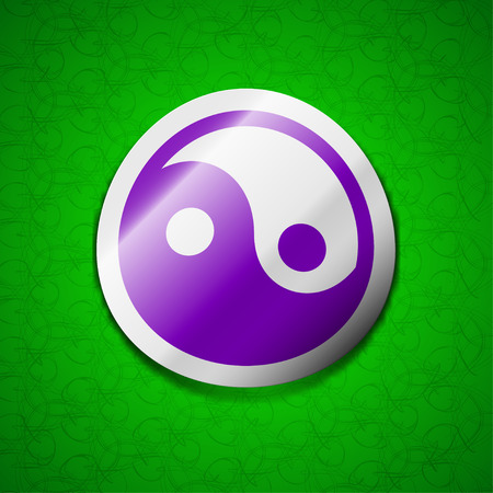 daoism: Ying yang icon sign. Symbol chic colored sticky label on green background. illustration Stock Photo