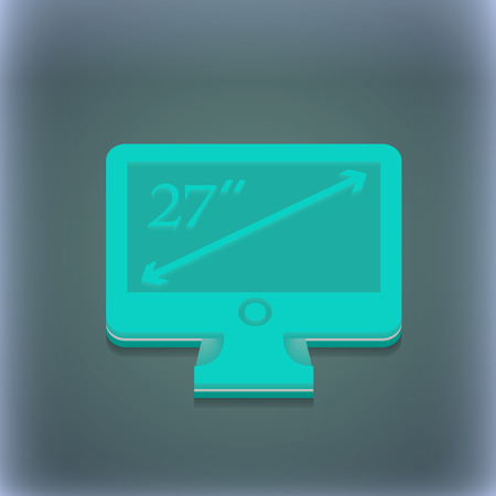 inches: diagonal of the monitor 27 inches icon symbol. 3D style. Trendy, modern design with space for your text illustration. Raster version Stock Photo