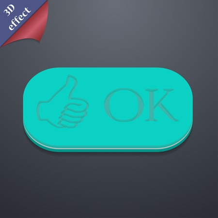 verify: OK icon symbol. 3D style. Trendy, modern design with space for your text illustration. Rastrized copy