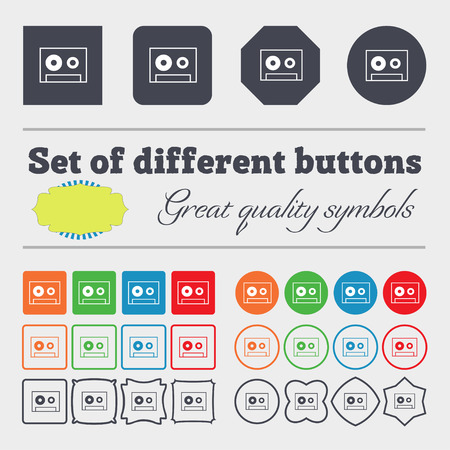 single songs: cassette sign icon. Audiocassette symbol. Big set of colorful, diverse, high-quality buttons. illustration