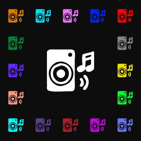 volume glow light: music column, disco, music, melody, speaker icon sign. Lots of colorful symbols for your design. illustration Stock Photo