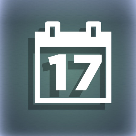 calendar date: Calendar, Date or event reminder icon symbol on the blue-green abstract background with shadow and space for your text. illustration