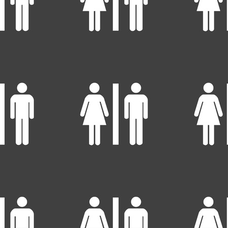 gents: silhouette of a man and a woman icon sign. Seamless pattern on a gray background. illustration