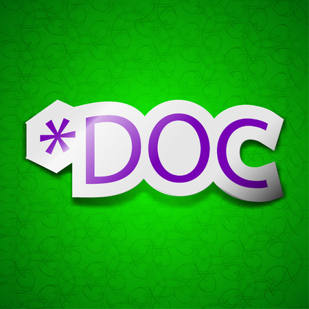 file extension: Doc file extension icon sign. Symbol chic colored sticky label on green background. illustration