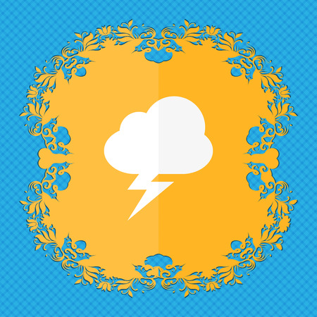 storm . Floral flat design on a blue abstract background with place for your text. illustration