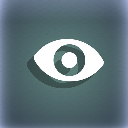 a sense of: sixth sense, the eye icon symbol on the blue-green abstract background with shadow and space for your text. illustration