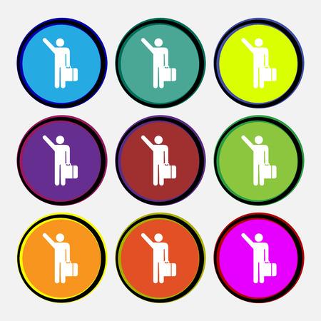tourist icon: tourist icon sign. Nine multi colored round buttons. illustration