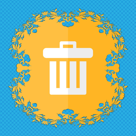 refuse bin: Recycle bin. Floral flat design on a blue abstract background with place for your text. illustration