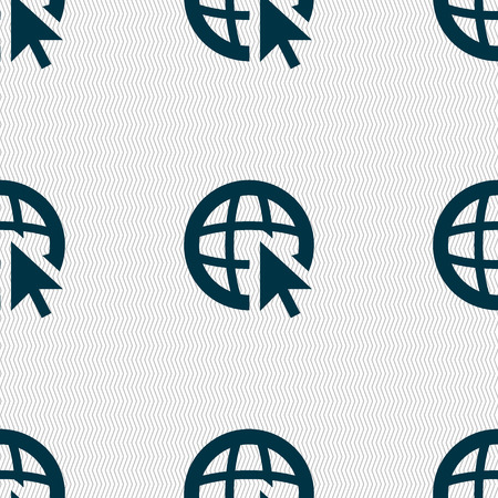 world wide: Internet sign icon. World wide web symbol. Cursor pointer. Seamless abstract background with geometric shapes. illustration Stock Photo