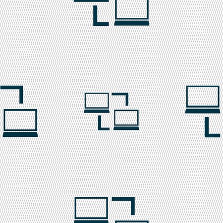 data synchronization: Synchronization sign icon. Notebooks sync symbol. Data exchange. Seamless abstract background with geometric shapes. illustration Stock Photo